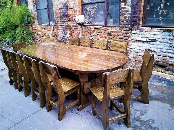 Комплект овальной мебели из дерева 3000х1200 от производителя