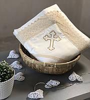 """Крыжма для крещения ребенка, квадратная, с вышивкой """"Крестик"""", молочная"""