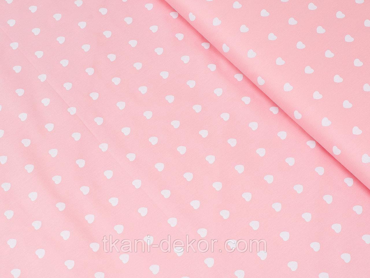 "Ткань муслин ""Сердечки на розовом"", ширина 160 см"