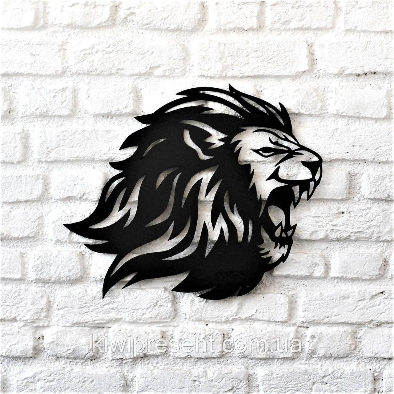 """Картина из металла  """"Лев"""" (черный мат). Декоративное панно на стену."""