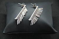 Серьги подвески из серебра Beauty Bar со струящейся бахромой, фото 1