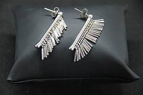 Серьги подвески из серебра Beauty Bar со струящейся бахромой