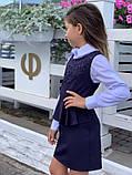 Школьный сарафан школьное платье для девочки школьная форма черная и темно-синего цвет размер:128,134,140,146, фото 4
