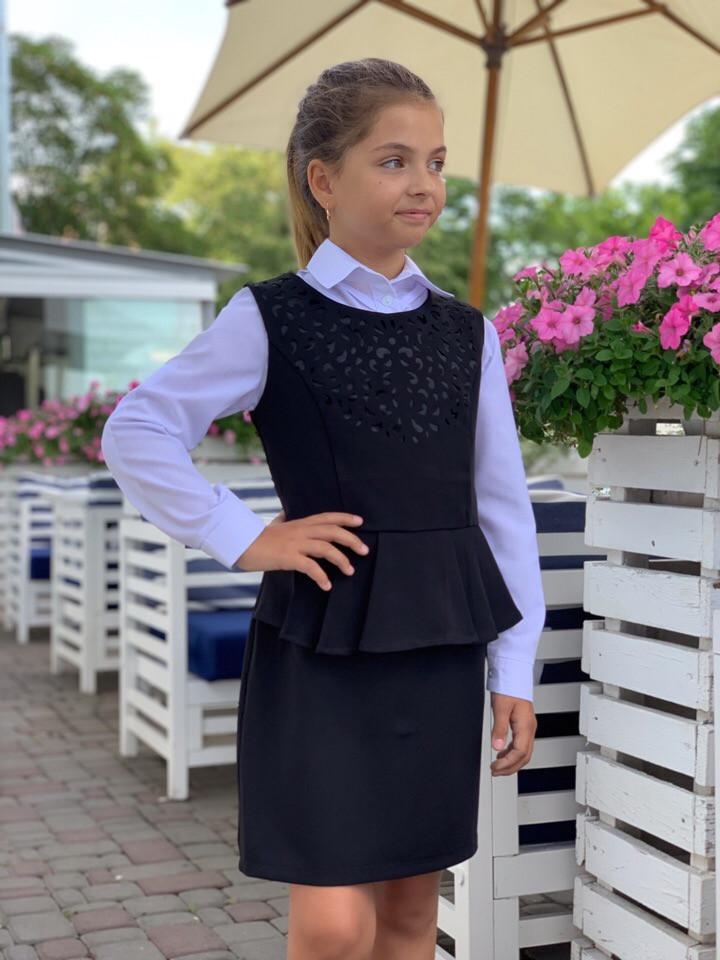 Школьный сарафан школьное платье для девочки школьная форма черная и темно-синего цвет размер:128,134,140,146