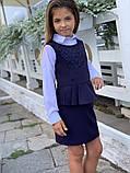 Школьный сарафан школьное платье для девочки школьная форма черная и темно-синего цвет размер:128,134,140,146, фото 3