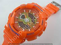 Детские наручные часы Casio Baby G BA-110 5338 оранжевые с салатовым циферблатом