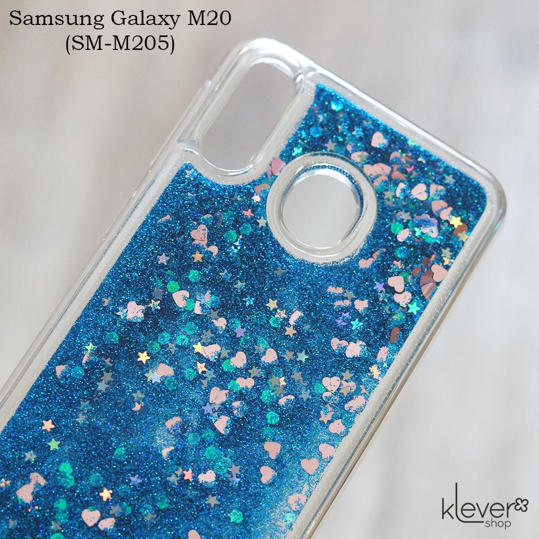 Чехол-аквариум с блестками для Samsung Galaxy M20 (SM-M205) (синие блестки)