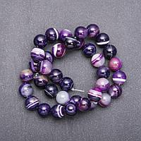 Бусины Глазковый Агат фиолетовый d-10мм нитка L-38см