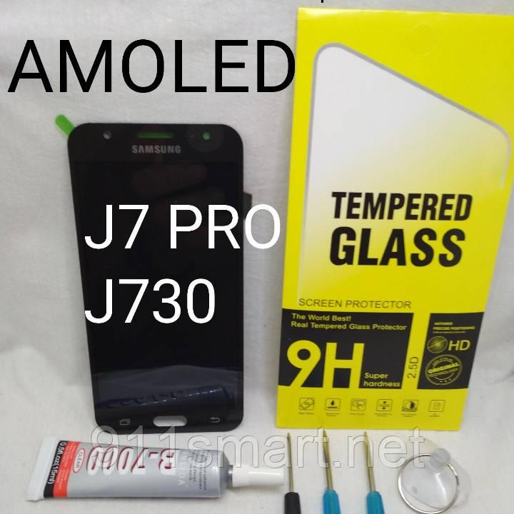 Дисплей Amoled экран для Samsung Galaxy J7 J730F / DS, J730FM  черный