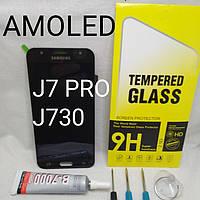 Дисплей Amoled экран для Samsung Galaxy J7 J730F / DS, J730FM  черный, фото 1