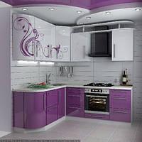 Розовая кухня с узором МДФ крашеный, фото 1