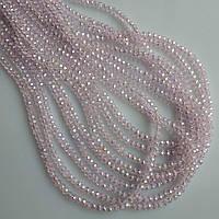 """Бусины стекло прозрачное светло розовое с напылением """"рондель"""" d-3,5х2,5мм нитка L-37см"""