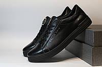 Мужские кроссовки Philipp Plein,натуральная кожа,черные (Реплика)