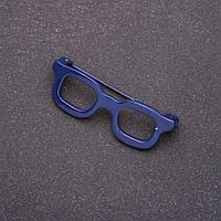 Брошь Очки мини синие 42х15мм