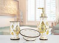 Комплект аксессуаров в ванную Irya Dora gold золотой (3 предмета)