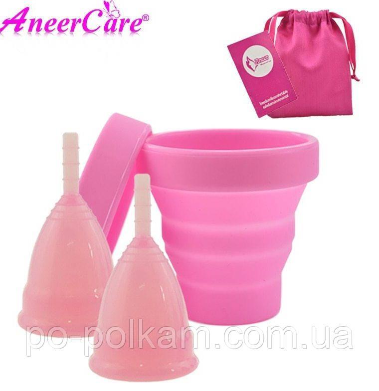 Менструальная чаша , набор , размеры  S и L + стакан для дезинфекции, фото 1