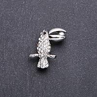 Брошь Птица Тукан белые стразы 32х20мм белый металл