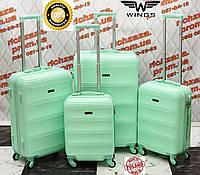 Комплект дорожных чемоданов на 4 колесах мята из поликарбоната WINGS TD 203-4 Украина Одесса