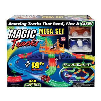 Конструктор Magic Tracks 360 деталей, оригинал, детская дорога с мостом и 2 гоночные машинки