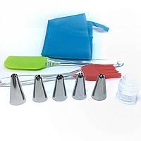 Набор кондитерских насадок с силиконовыми мешком лопаткой и кисточкой ММ - 841