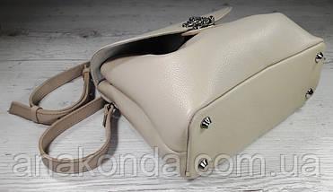 554 Натуральная кожа, Сумка женская, светлая бежевая молочная, экрю светлый беж Кожаная сумка поворотном замке, фото 3