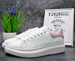 Женские кроссовки Alexander McQueen White Pink Кожа Александр Маккуин кроссовки на платформе 36 р