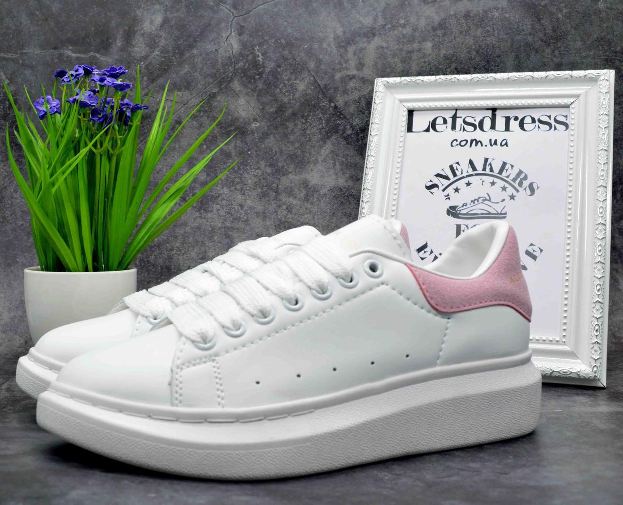 Женские кроссовки Alexander McQueen White Pink Кожа Александр Маккуин белые с розовым кроссовки на платформе