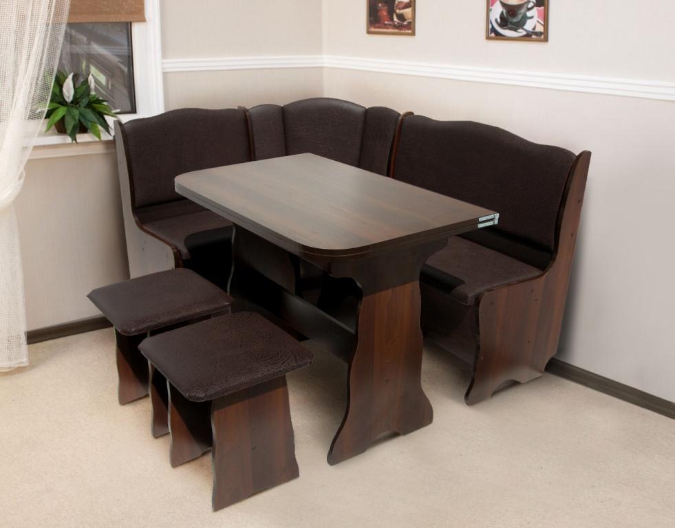 Кухонный комплект Гармония (уголок+стол+2 табурета) цвет Темный орех/Шоколад
