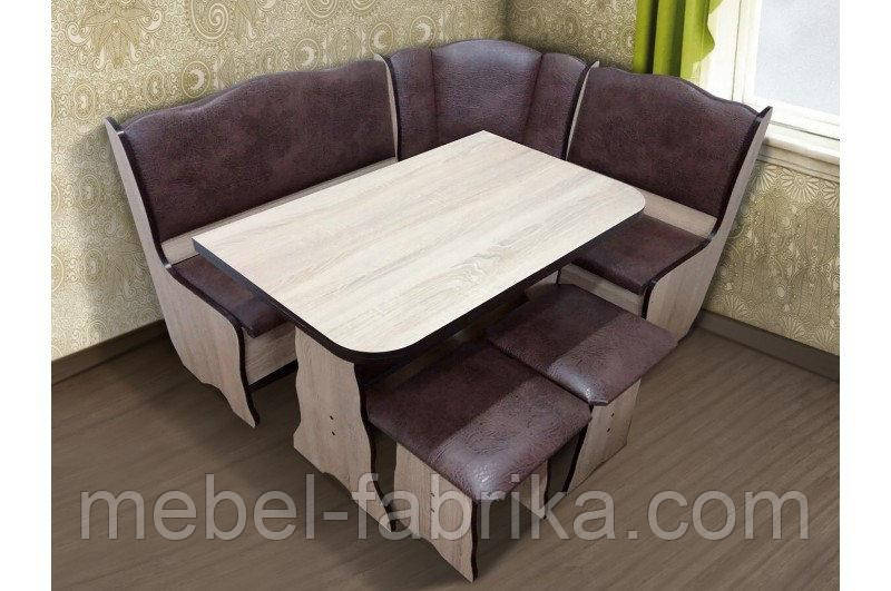 Кухонный комплект Гармония (уголок+стол+2 табурета) цвет Сонома/шоколад