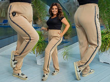 """Летние стильные женские брюки в больших размерах 625 """"Штапель Лампасы Надписи Шеврон"""" в расцветках"""