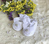 Детские пинетки для крещения или разных праздников белого цвета handmade, фото 3