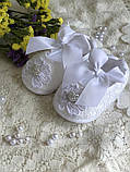 Детские пинетки для крещения или разных праздников белого цвета handmade, фото 2