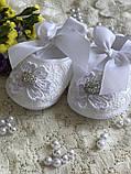 Детские пинетки для крещения или разных праздников белого цвета handmade, фото 5