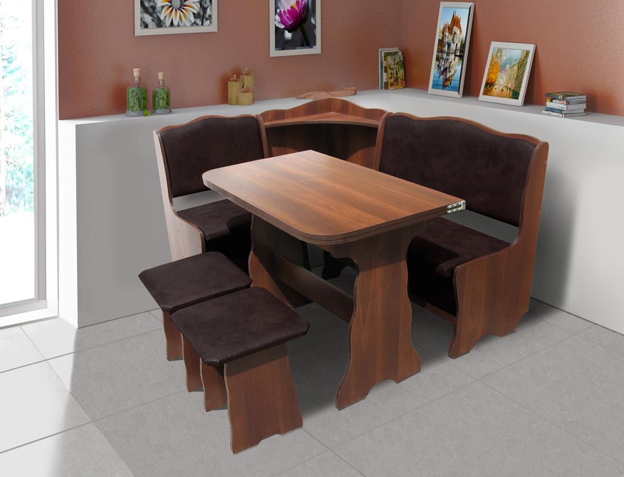 Кухонный комплект Симфония (уголок+стол+2 табурета) цвет Темный орех/Шоколад