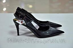 Черные кожаные туфли с открытой пяткой Manas