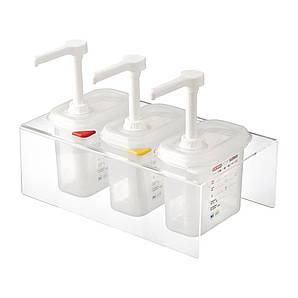 Дозатор-Диспенсер для соуса 3 шт. по 1 л. (1 порция - 30 грамм) на подставке Araven