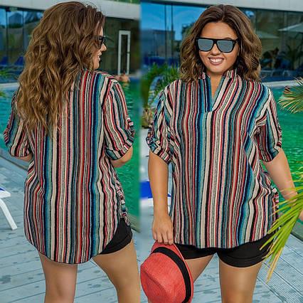 """Летняя женская блузка-рубашка в батальных размерах 523 """"Штапель Полоска Клапаны"""""""