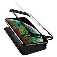 Акция! Чехол + стекло Spigen для iPhone XS Max Thin Fit 360 Black (065CS24846) [Скидка 5%, при условии 100% предоплаты!]