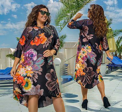 """Элегантное женское платье в больших размерах 633 """"Ассиметрия Шёлк Цветы"""" в расцветках"""