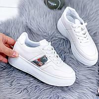 Кроссовки женские Liners белый + серебро 8008, фото 1