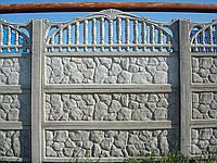 Секция бетонного забора Киев-Одесса глухая  камень с бортиком