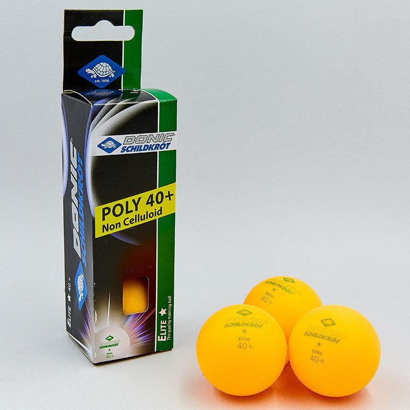 Набор мячей для настольного тенниса 3 штуки DONIC ELITE 1star (оранжевый)