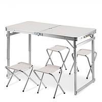 Усиленный стол + 4 стула, раскладной для пикника, туризма и сада