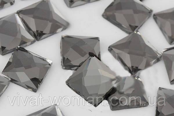 Стрази термоклеєві, Квадрат 8*8 мм, Black Diamond (сірий)