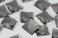 Стразы термоклеевые, Квадрат 8*8 мм, Black Diamond (серый)