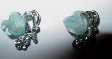 Новые серебристый металл серьги сережки с камнями  гвоздики бирюзовые сердечки