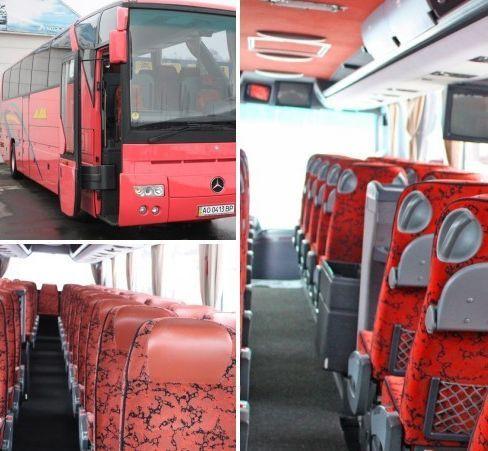 45-ти местный  Mercedes Benz O350 tоurizmo  туристического класса, предназначен для частных пассажирских переездов,  оборудован всеми нужными опциями для полноценного комфорта пассажиров в пути : от удобных пассажирских кресел, до бортовой кухни, холодильника, санузла,прочих удобств. Основные направления пассажирских перевозок : частные и туристические поездки  с багажом. Выезды : Словакия,  Австрия, Греция, Хорватия,  Италия, Венгрия, Польша, Румыния, Сербия, Словения, Чехия и др.