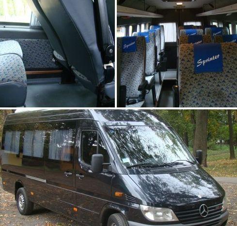 Mercedes  Sprinter (  до 16  посадочных мест ), оборудован  кондиционером для пассажиров, сиденьями с регулируемыми спинками, ремнями безопасности, двумя отопителями салона,  подсветкой для чтения,, принудительной вентиляцией. Направления выездов за  рубеж: от частных до туристических поездок в Венгрию, Словакию, Австрию, Чехию, Словению, Италию