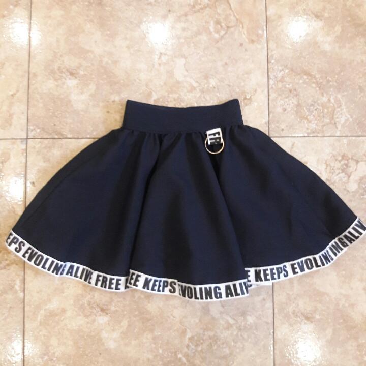Школьная юбочка синяя с буквами