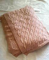 Плед вязанный шерстяной на кровать или диван 200*180